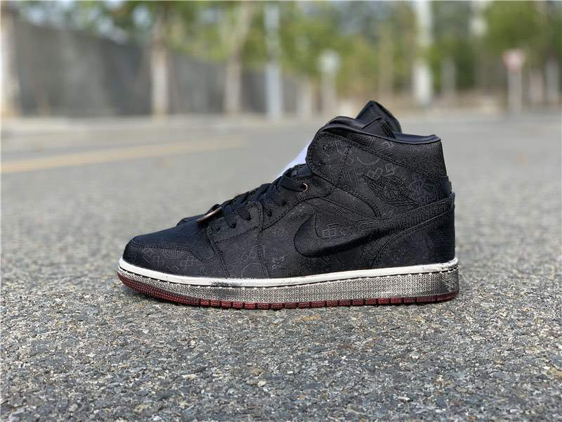 Мужские кроссовки Nike Air Jordan 1 Mid Fearless Black x CLOT